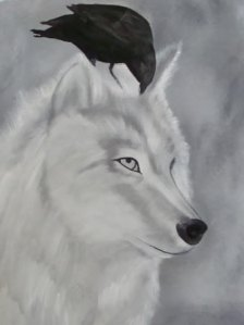 wolf and raven painting